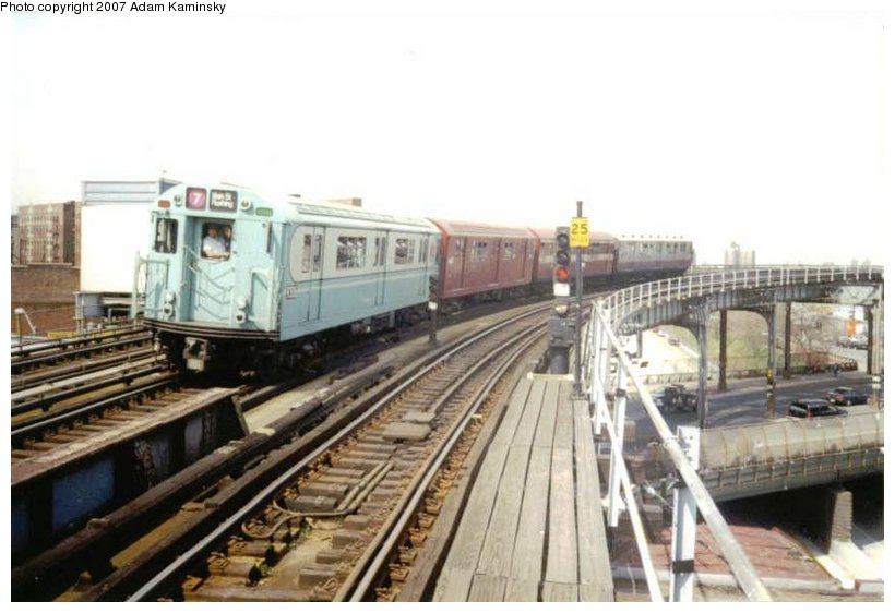 (79k, 820x562)<br><b>Country:</b> United States<br><b>City:</b> New York<br><b>System:</b> New York City Transit<br><b>Line:</b> IRT Pelham Line<br><b>Location:</b> Whitlock Avenue <br><b>Route:</b> Fan Trip<br><b>Car:</b> R-33 World's Fair (St. Louis, 1963-64) 9306 <br><b>Photo by:</b> Adam Kaminsky<br><b>Viewed (this week/total):</b> 0 / 2233