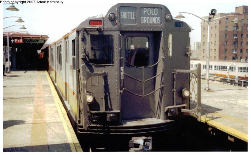 (98k, 820x507)<br><b>Country:</b> United States<br><b>City:</b> New York<br><b>System:</b> New York City Transit<br><b>Line:</b> IRT Pelham Line<br><b>Location:</b> East 177th Street/Parkchester <br><b>Route:</b> Fan Trip<br><b>Car:</b> R-12 (American Car & Foundry, 1948) 5760 <br><b>Photo by:</b> Adam Kaminsky<br><b>Date:</b> 4/17/2004<br><b>Viewed (this week/total):</b> 0 / 2284