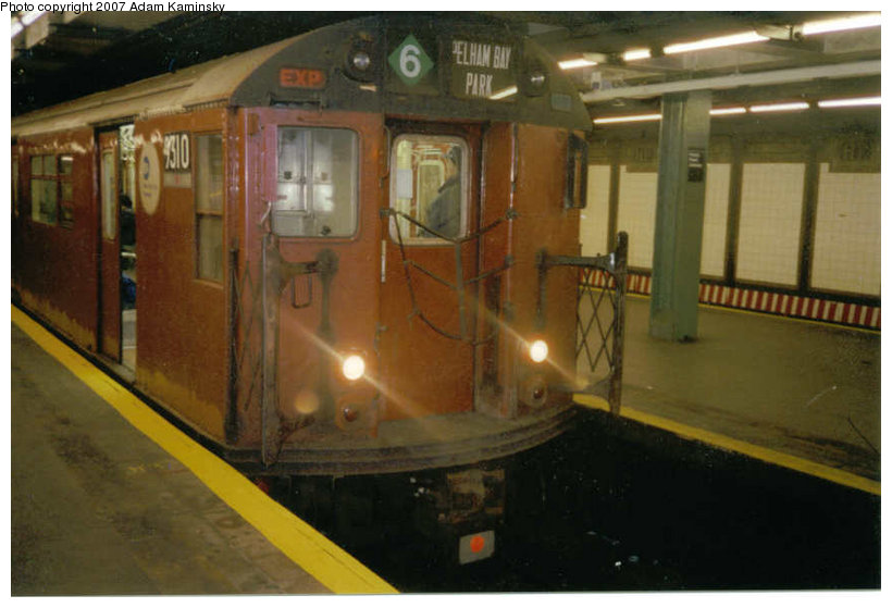 (94k, 820x559)<br><b>Country:</b> United States<br><b>City:</b> New York<br><b>System:</b> New York City Transit<br><b>Line:</b> IRT Pelham Line<br><b>Location:</b> Hunts Point Avenue <br><b>Route:</b> Fan Trip<br><b>Car:</b> R-33 World's Fair (St. Louis, 1963-64) 9310 <br><b>Photo by:</b> Adam Kaminsky<br><b>Date:</b> 12/2003<br><b>Viewed (this week/total):</b> 2 / 2564