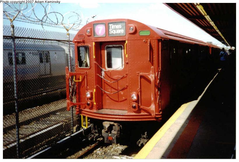 (126k, 820x557)<br><b>Country:</b> United States<br><b>City:</b> New York<br><b>System:</b> New York City Transit<br><b>Location:</b> Rockaway Park Yard<br><b>Route:</b> Fan Trip<br><b>Car:</b> R-33 Main Line (St. Louis, 1962-63) 9017 <br><b>Photo by:</b> Adam Kaminsky<br><b>Date:</b> 6/19/2004<br><b>Viewed (this week/total):</b> 3 / 1840