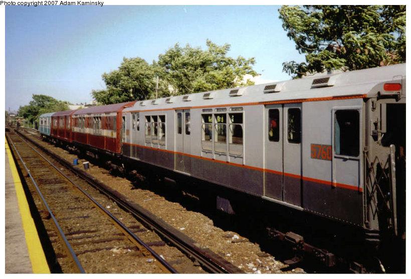 (125k, 820x557)<br><b>Country:</b> United States<br><b>City:</b> New York<br><b>System:</b> New York City Transit<br><b>Location:</b> Rockaway Park Yard<br><b>Route:</b> Fan Trip<br><b>Car:</b> R-12 (American Car & Foundry, 1948) 5760 <br><b>Photo by:</b> Adam Kaminsky<br><b>Date:</b> 6/19/2004<br><b>Viewed (this week/total):</b> 0 / 1682