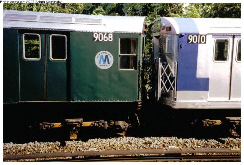 (119k, 820x557)<br><b>Country:</b> United States<br><b>City:</b> New York<br><b>System:</b> New York City Transit<br><b>Location:</b> Rockaway Park Yard<br><b>Route:</b> Fan Trip<br><b>Car:</b> R-33 Main Line (St. Louis, 1962-63) 9068/9010 <br><b>Photo by:</b> Adam Kaminsky<br><b>Date:</b> 6/19/2004<br><b>Viewed (this week/total):</b> 0 / 1934