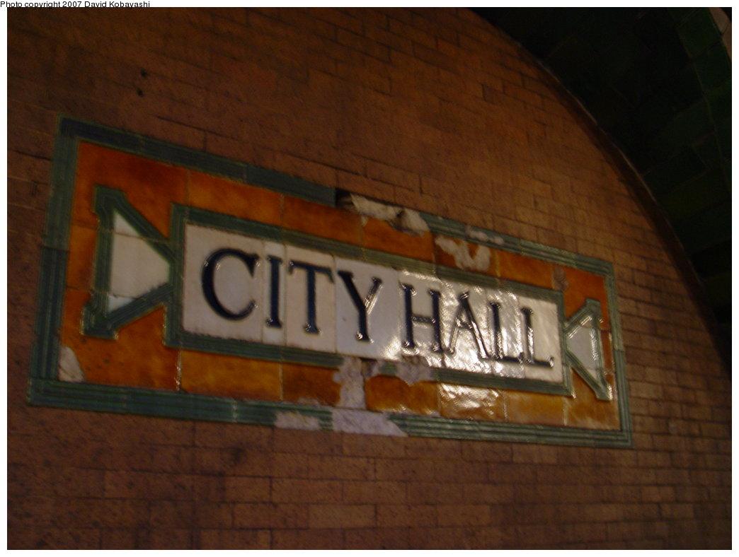(125k, 1044x788)<br><b>Country:</b> United States<br><b>City:</b> New York<br><b>System:</b> New York City Transit<br><b>Line:</b> IRT East Side Line<br><b>Location:</b> City Hall <br><b>Photo by:</b> David Kobayashi<br><b>Date:</b> 2/4/2007<br><b>Notes:</b> Transit Museum tour.<br><b>Viewed (this week/total):</b> 2 / 5060