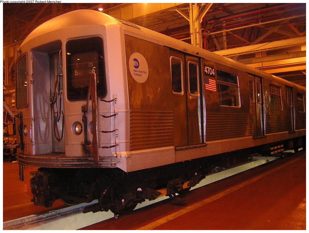 (237k, 1044x788)<br><b>Country:</b> United States<br><b>City:</b> New York<br><b>System:</b> New York City Transit<br><b>Location:</b> Coney Island Shop/Overhaul & Repair Shop<br><b>Car:</b> R-42 (St. Louis, 1969-1970)  4704 <br><b>Photo by:</b> Robert Mencher<br><b>Date:</b> 2/9/2007<br><b>Viewed (this week/total):</b> 0 / 2117