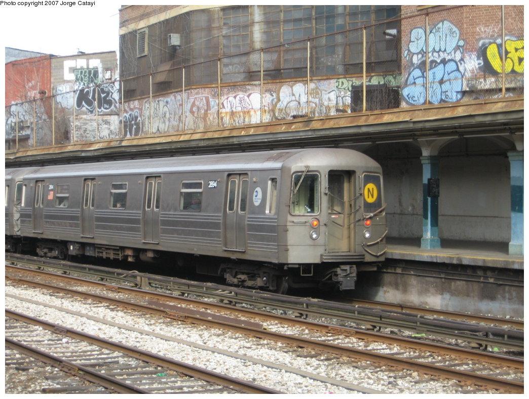 (211k, 1044x788)<br><b>Country:</b> United States<br><b>City:</b> New York<br><b>System:</b> New York City Transit<br><b>Line:</b> BMT Sea Beach Line<br><b>Location:</b> New Utrecht Avenue <br><b>Route:</b> N<br><b>Car:</b> R-68 (Westinghouse-Amrail, 1986-1988)  2894 <br><b>Photo by:</b> Jorge Catayi<br><b>Date:</b> 2/13/2007<br><b>Viewed (this week/total):</b> 2 / 2036