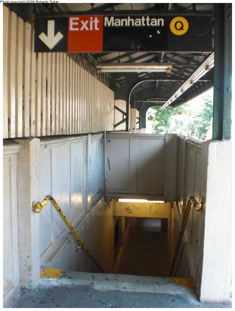 (221k, 788x1044)<br><b>Country:</b> United States<br><b>City:</b> New York<br><b>System:</b> New York City Transit<br><b>Line:</b> BMT Brighton Line<br><b>Location:</b> Avenue H <br><b>Photo by:</b> Roberto C. Tobar<br><b>Date:</b> 8/16/2009<br><b>Notes:</b> Stairs at Avenue H. Station soon to be rebuilt.<br><b>Viewed (this week/total):</b> 1 / 1050