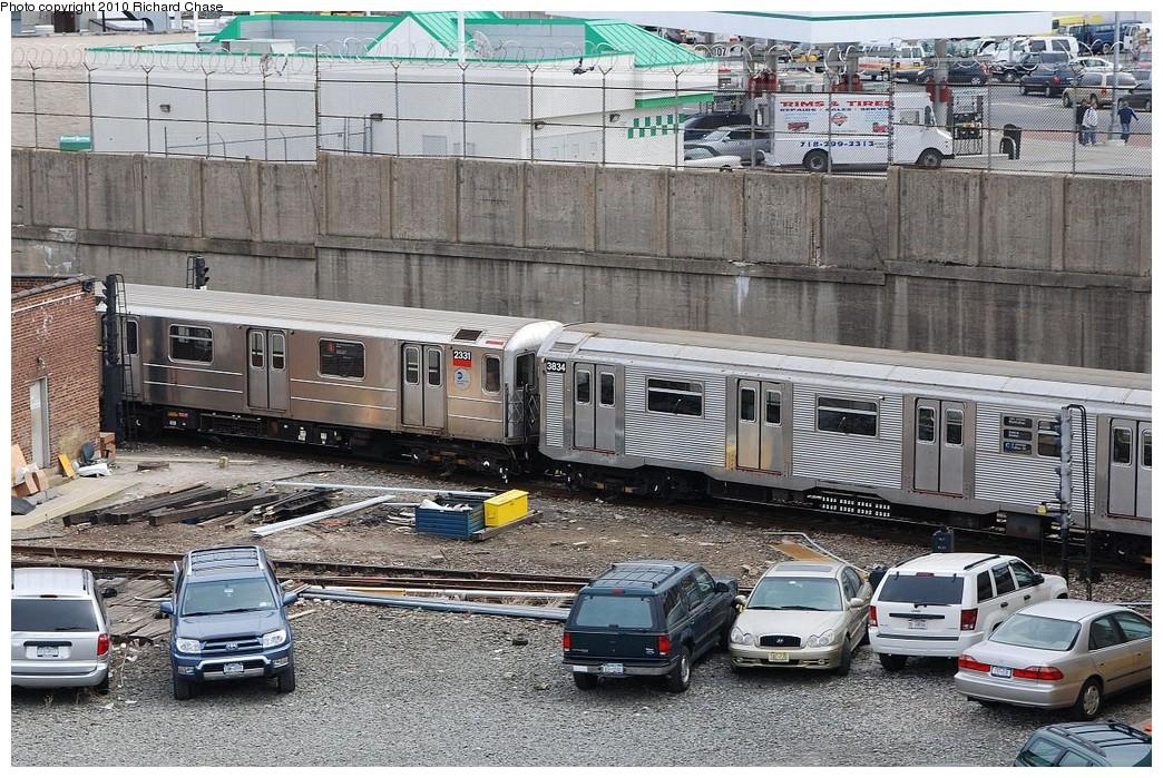 (293k, 1044x699)<br><b>Country:</b> United States<br><b>City:</b> New York<br><b>System:</b> New York City Transit<br><b>Location:</b> 207th Street Yard<br><b>Car:</b> R-62A (Bombardier, 1984-1987)  2331 <br><b>Photo by:</b> Richard Chase<br><b>Date:</b> 3/25/2010<br><b>Notes:</b> Note R62A coupled to R32 -- yard transfer to/from Coney Island<br><b>Viewed (this week/total):</b> 0 / 1411