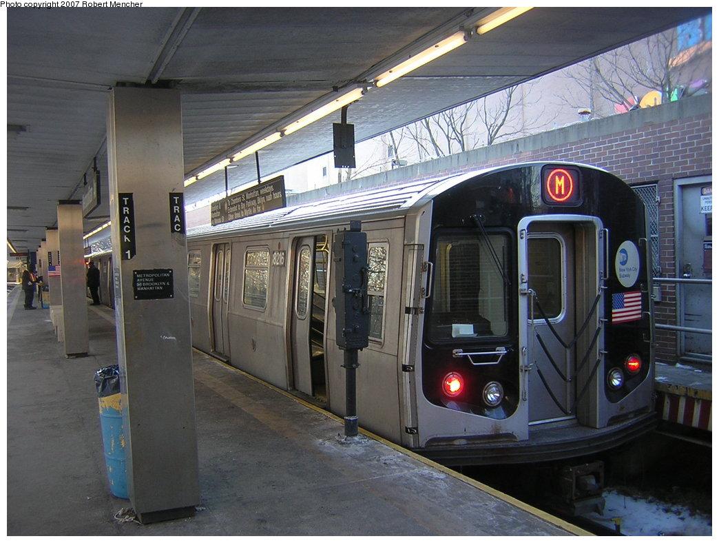 (210k, 1044x788)<br><b>Country:</b> United States<br><b>City:</b> New York<br><b>System:</b> New York City Transit<br><b>Line:</b> BMT Myrtle Avenue Line<br><b>Location:</b> Metropolitan Avenue <br><b>Route:</b> M<br><b>Car:</b> R-143 (Kawasaki, 2001-2002) 8216 <br><b>Photo by:</b> Robert Mencher<br><b>Date:</b> 2/19/2007<br><b>Viewed (this week/total):</b> 8 / 4054