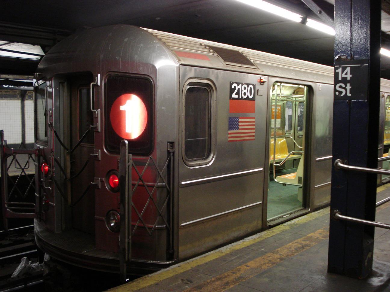 (163k, 1296x972)<br><b>Country:</b> United States<br><b>City:</b> New York<br><b>System:</b> New York City Transit<br><b>Line:</b> IRT West Side Line<br><b>Location:</b> 14th Street<br><b>Route:</b> 1<br><b>Car:</b> R-62A (Bombardier, 1984-1987) 2180 <br><b>Photo by:</b> Michael Hodurski<br><b>Date:</b> 2/17/2007<br><b>Viewed (this week/total):</b> 1 / 3642