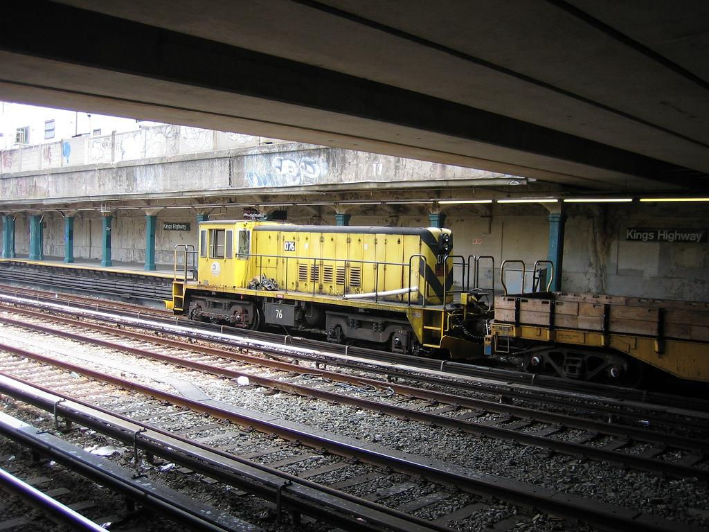 (165k, 1024x768)<br><b>Country:</b> United States<br><b>City:</b> New York<br><b>System:</b> New York City Transit<br><b>Line:</b> BMT Sea Beach Line<br><b>Location:</b> Kings Highway <br><b>Route:</b> Work Service<br><b>Car:</b> R-52 Locomotive  76 <br><b>Photo by:</b> Michael Hodurski<br><b>Date:</b> 7/20/2006<br><b>Viewed (this week/total):</b> 2 / 1563