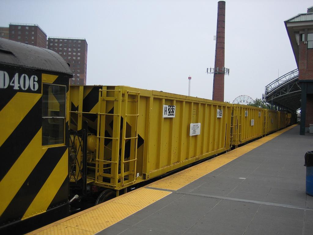 (92k, 1024x768)<br><b>Country:</b> United States<br><b>City:</b> New York<br><b>System:</b> New York City Transit<br><b>Location:</b> Coney Island/Stillwell Avenue<br><b>Route:</b> Work Service<br><b>Car:</b> R-23 MoW Hopper (1958, Marshall Rwy. Equip. Co.)  283 <br><b>Photo by:</b> Michael Hodurski<br><b>Date:</b> 7/12/2006<br><b>Viewed (this week/total):</b> 0 / 1345