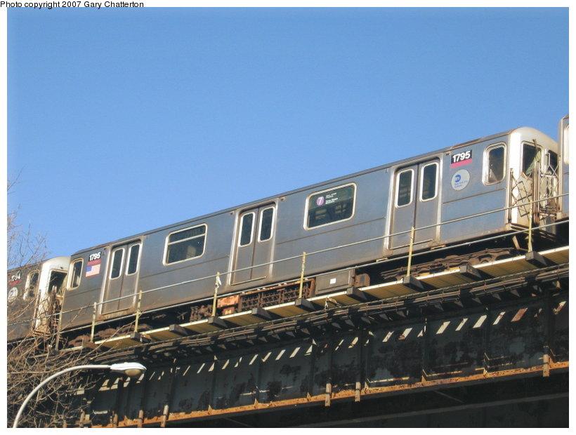 (101k, 820x620)<br><b>Country:</b> United States<br><b>City:</b> New York<br><b>System:</b> New York City Transit<br><b>Location:</b> Corona Yard<br><b>Car:</b> R-62A (Bombardier, 1984-1987)  1795 <br><b>Photo by:</b> Gary Chatterton<br><b>Date:</b> 2/7/2007<br><b>Notes:</b> On Corona Yard lead.<br><b>Viewed (this week/total):</b> 0 / 1824