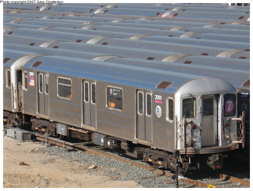 (124k, 820x620)<br><b>Country:</b> United States<br><b>City:</b> New York<br><b>System:</b> New York City Transit<br><b>Location:</b> Corona Yard<br><b>Car:</b> R-62A (Bombardier, 1984-1987)  2000 <br><b>Photo by:</b> Gary Chatterton<br><b>Date:</b> 2/10/2007<br><b>Viewed (this week/total):</b> 0 / 2495