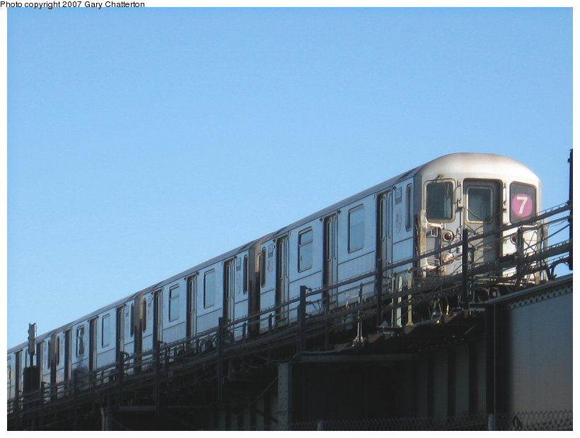 (74k, 820x620)<br><b>Country:</b> United States<br><b>City:</b> New York<br><b>System:</b> New York City Transit<br><b>Line:</b> IRT Flushing Line<br><b>Location:</b> 69th Street/Fisk Avenue <br><b>Route:</b> 7<br><b>Car:</b> R-62A (Bombardier, 1984-1987)  1726 <br><b>Photo by:</b> Gary Chatterton<br><b>Date:</b> 2/19/2007<br><b>Viewed (this week/total):</b> 2 / 1967