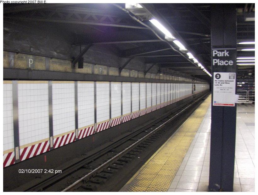 (102k, 820x622)<br><b>Country:</b> United States<br><b>City:</b> New York<br><b>System:</b> New York City Transit<br><b>Line:</b> IRT West Side Line<br><b>Location:</b> Park Place <br><b>Photo by:</b> Bill E.<br><b>Date:</b> 2/10/2007<br><b>Viewed (this week/total):</b> 0 / 2563