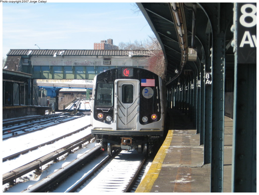 (171k, 1044x788)<br><b>Country:</b> United States<br><b>City:</b> New York<br><b>System:</b> New York City Transit<br><b>Line:</b> BMT Sea Beach Line<br><b>Location:</b> 8th Avenue <br><b>Route:</b> N<br><b>Car:</b> R-160B (Kawasaki, 2005-2008)  8723 <br><b>Photo by:</b> Jorge Catayi<br><b>Date:</b> 2/16/2007<br><b>Viewed (this week/total):</b> 0 / 3553