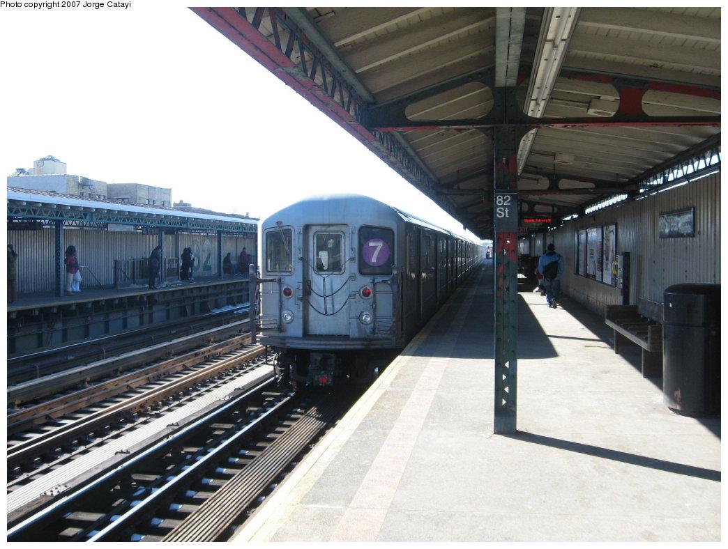 (161k, 1044x788)<br><b>Country:</b> United States<br><b>City:</b> New York<br><b>System:</b> New York City Transit<br><b>Line:</b> IRT Flushing Line<br><b>Location:</b> 82nd Street/Jackson Heights <br><b>Route:</b> 7<br><b>Car:</b> R-62A (Bombardier, 1984-1987)   <br><b>Photo by:</b> Jorge Catayi<br><b>Date:</b> 2/19/2007<br><b>Viewed (this week/total):</b> 0 / 1857
