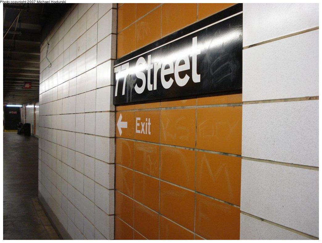 (135k, 1044x788)<br><b>Country:</b> United States<br><b>City:</b> New York<br><b>System:</b> New York City Transit<br><b>Line:</b> BMT 4th Avenue<br><b>Location:</b> 77th Street <br><b>Photo by:</b> Michael Hodurski<br><b>Date:</b> 2/21/2007<br><b>Notes:</b> Wall tile.<br><b>Viewed (this week/total):</b> 0 / 1919