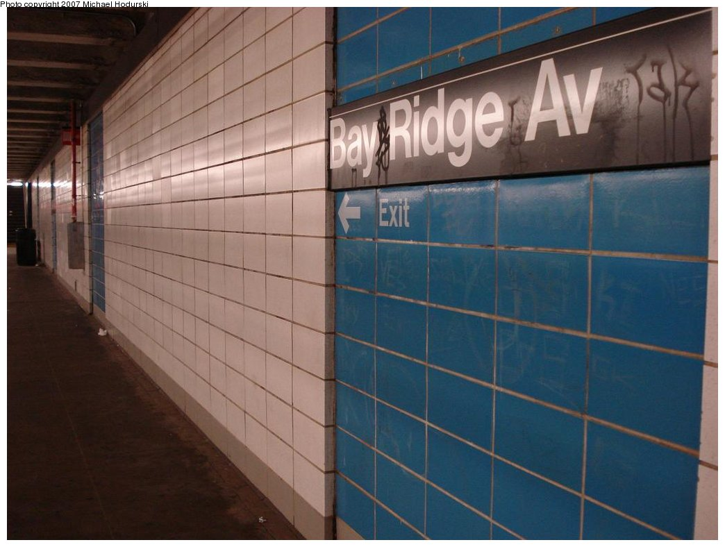 (139k, 1044x788)<br><b>Country:</b> United States<br><b>City:</b> New York<br><b>System:</b> New York City Transit<br><b>Line:</b> BMT 4th Avenue<br><b>Location:</b> Bay Ridge Avenue <br><b>Photo by:</b> Michael Hodurski<br><b>Date:</b> 2/21/2007<br><b>Notes:</b> Wall tile.<br><b>Viewed (this week/total):</b> 0 / 1940