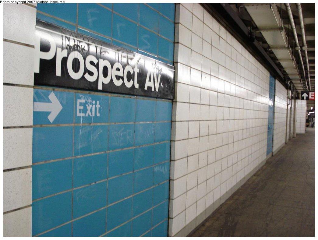 (143k, 1044x788)<br><b>Country:</b> United States<br><b>City:</b> New York<br><b>System:</b> New York City Transit<br><b>Line:</b> BMT 4th Avenue<br><b>Location:</b> Prospect Avenue <br><b>Photo by:</b> Michael Hodurski<br><b>Date:</b> 2/22/2007<br><b>Notes:</b> Platform view with wall tile.<br><b>Viewed (this week/total):</b> 1 / 1978