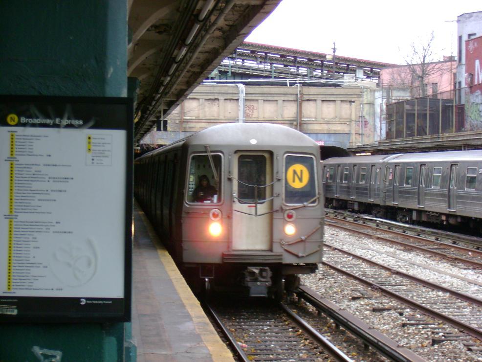 (129k, 986x740)<br><b>Country:</b> United States<br><b>City:</b> New York<br><b>System:</b> New York City Transit<br><b>Line:</b> BMT Sea Beach Line<br><b>Location:</b> New Utrecht Avenue <br><b>Route:</b> N<br><b>Car:</b> R-68A (Kawasaki, 1988-1989)   <br><b>Photo by:</b> Pablo Maneiro<br><b>Date:</b> 11/18/2006<br><b>Viewed (this week/total):</b> 0 / 2103