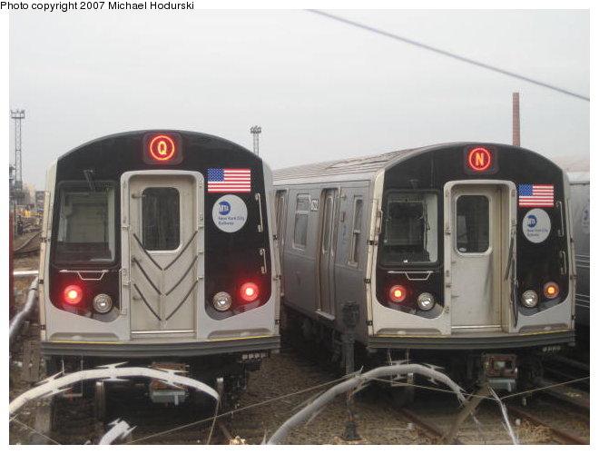 (70k, 660x500)<br><b>Country:</b> United States<br><b>City:</b> New York<br><b>System:</b> New York City Transit<br><b>Location:</b> Coney Island Yard<br><b>Car:</b> R-160A-2 (Alstom, 2005-2008, 5 car sets)  8653 <br><b>Photo by:</b> John Dooley<br><b>Collection of:</b> Michael Hodurski<br><b>Date:</b> 12/11/2006<br><b>Notes:</b> With R160B 8843 on test track.<br><b>Viewed (this week/total):</b> 3 / 5103