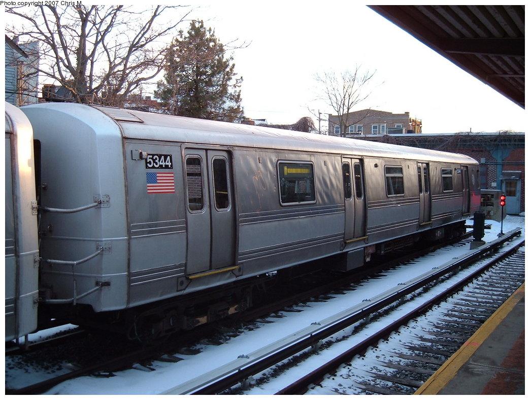 (212k, 1044x788)<br><b>Country:</b> United States<br><b>City:</b> New York<br><b>System:</b> New York City Transit<br><b>Location:</b> Rockaway Park Yard<br><b>Car:</b> R-44 (St. Louis, 1971-73) 5344 <br><b>Photo by:</b> Chris M.<br><b>Date:</b> 2/18/2007<br><b>Viewed (this week/total):</b> 0 / 2274