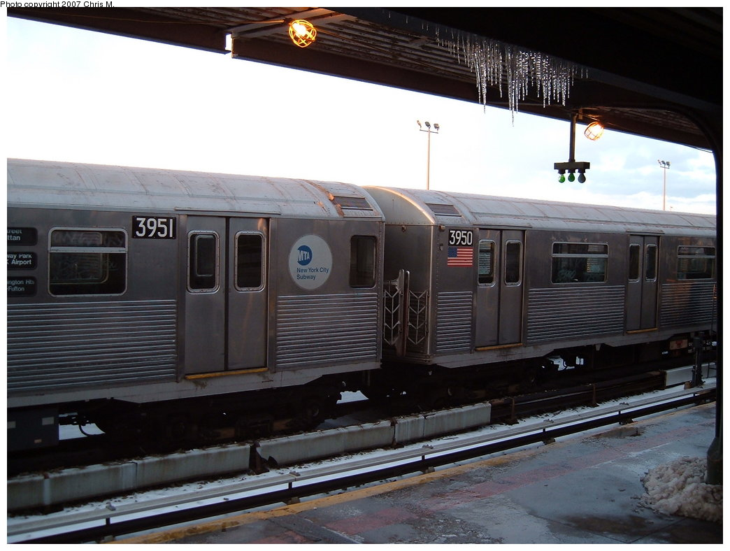 (163k, 1044x788)<br><b>Country:</b> United States<br><b>City:</b> New York<br><b>System:</b> New York City Transit<br><b>Location:</b> Rockaway Park Yard<br><b>Car:</b> R-38 (St. Louis, 1966-1967)  3951 <br><b>Photo by:</b> Chris M.<br><b>Date:</b> 2/18/2007<br><b>Viewed (this week/total):</b> 3 / 2106