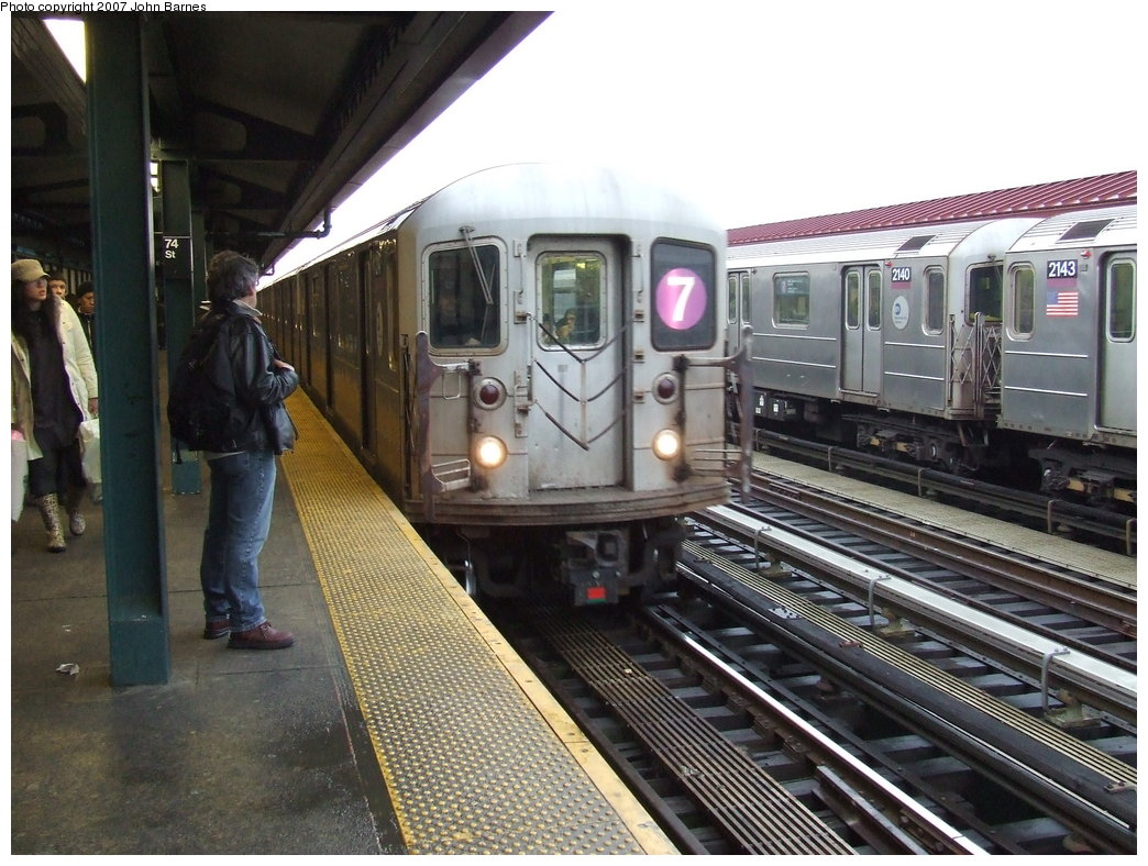 (198k, 1044x788)<br><b>Country:</b> United States<br><b>City:</b> New York<br><b>System:</b> New York City Transit<br><b>Line:</b> IRT Flushing Line<br><b>Location:</b> 74th Street/Broadway <br><b>Route:</b> 7<br><b>Car:</b> R-62A (Bombardier, 1984-1987)  2147 <br><b>Photo by:</b> John Barnes<br><b>Date:</b> 2/27/2007<br><b>Viewed (this week/total):</b> 0 / 1811