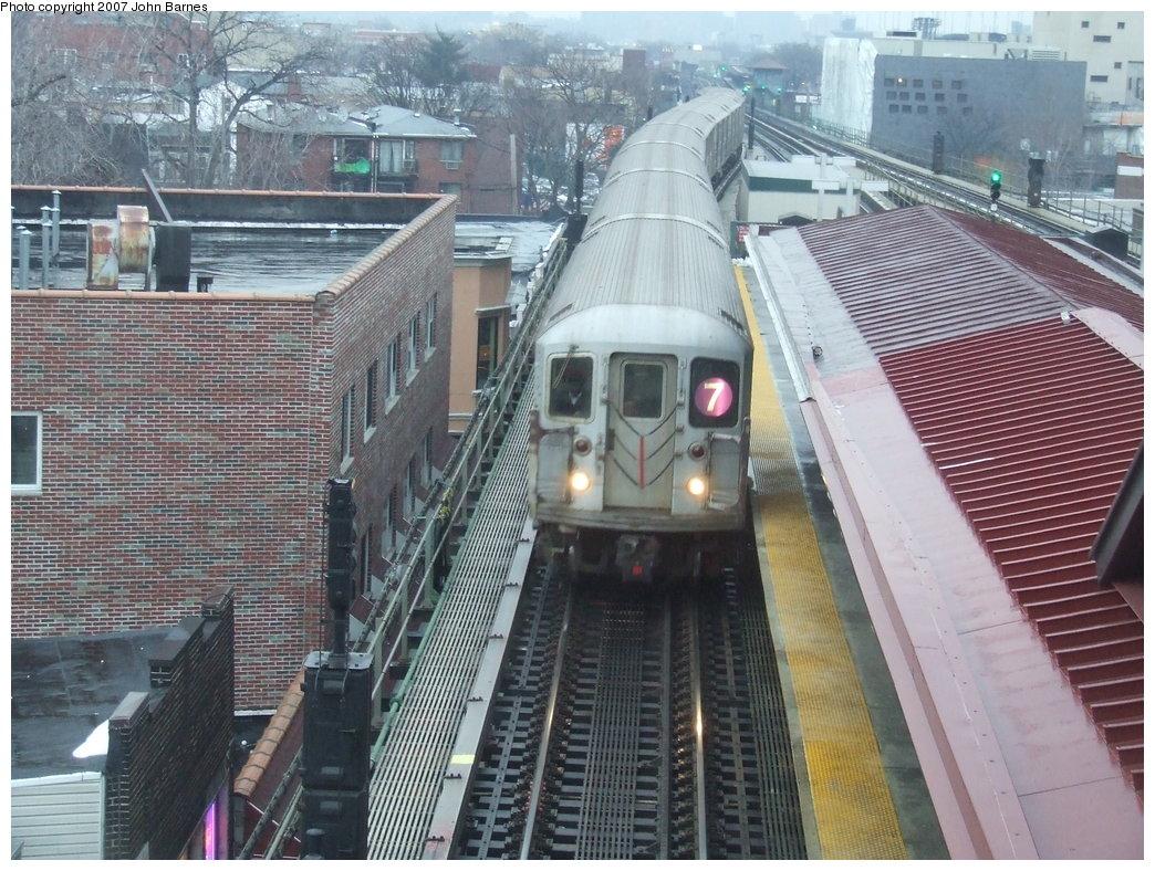(230k, 1044x788)<br><b>Country:</b> United States<br><b>City:</b> New York<br><b>System:</b> New York City Transit<br><b>Line:</b> IRT Flushing Line<br><b>Location:</b> Junction Boulevard <br><b>Route:</b> 7<br><b>Car:</b> R-62A (Bombardier, 1984-1987)   <br><b>Photo by:</b> John Barnes<br><b>Date:</b> 2/27/2007<br><b>Viewed (this week/total):</b> 1 / 2579