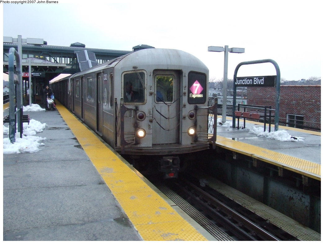 (164k, 1044x788)<br><b>Country:</b> United States<br><b>City:</b> New York<br><b>System:</b> New York City Transit<br><b>Line:</b> IRT Flushing Line<br><b>Location:</b> Junction Boulevard <br><b>Route:</b> 7<br><b>Car:</b> R-62A (Bombardier, 1984-1987)  2102 <br><b>Photo by:</b> John Barnes<br><b>Date:</b> 2/27/2007<br><b>Viewed (this week/total):</b> 2 / 2552