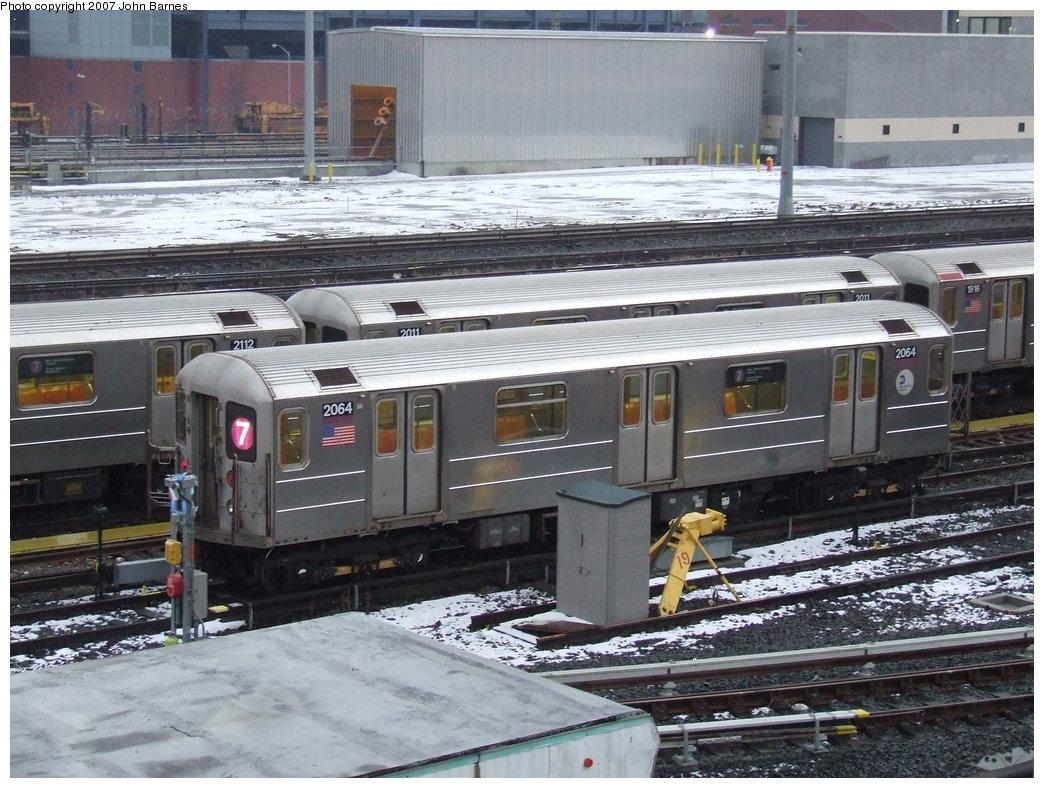 (207k, 1044x788)<br><b>Country:</b> United States<br><b>City:</b> New York<br><b>System:</b> New York City Transit<br><b>Location:</b> Corona Yard<br><b>Car:</b> R-62A (Bombardier, 1984-1987)  2064 <br><b>Photo by:</b> John Barnes<br><b>Date:</b> 2/27/2007<br><b>Viewed (this week/total):</b> 1 / 1994