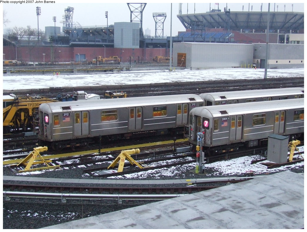(221k, 1044x788)<br><b>Country:</b> United States<br><b>City:</b> New York<br><b>System:</b> New York City Transit<br><b>Location:</b> Corona Yard<br><b>Car:</b> R-62A (Bombardier, 1984-1987)  2112/2064 <br><b>Photo by:</b> John Barnes<br><b>Date:</b> 2/27/2007<br><b>Viewed (this week/total):</b> 0 / 1719
