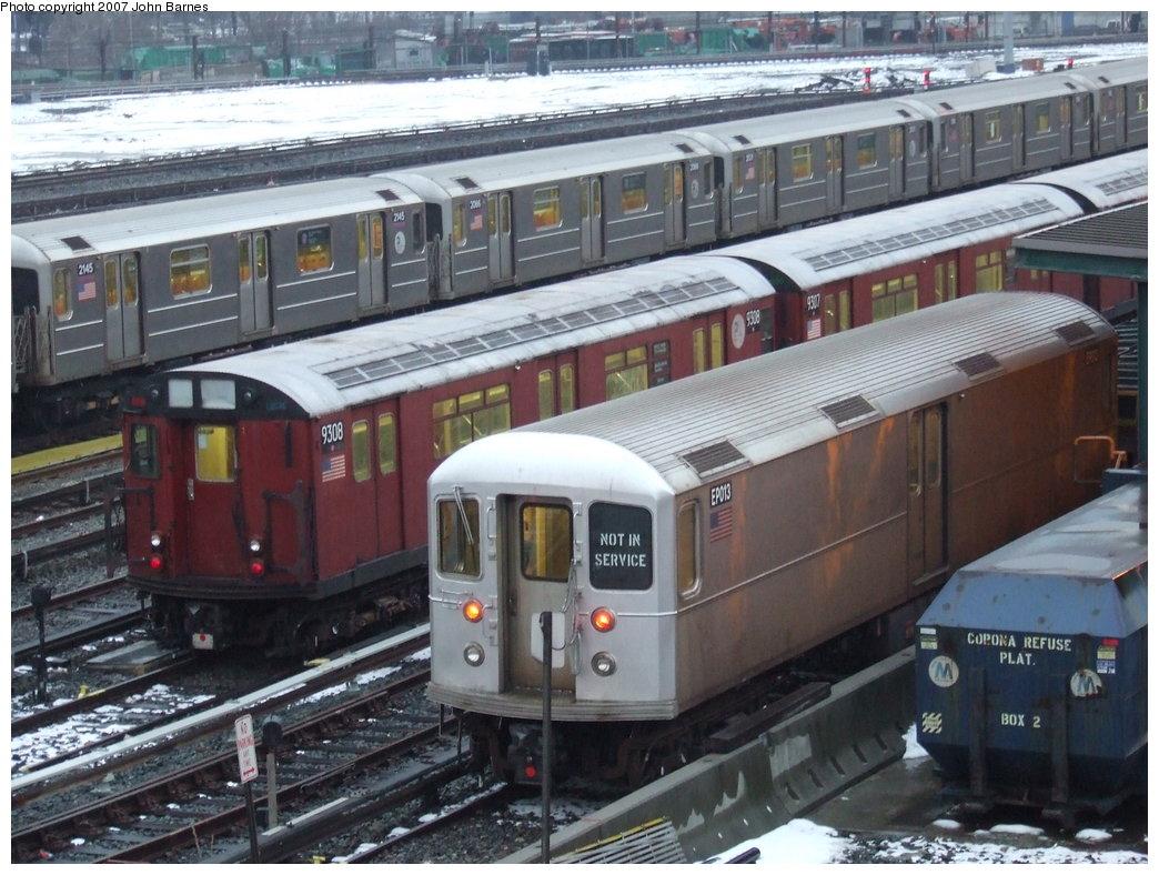 (197k, 1044x788)<br><b>Country:</b> United States<br><b>City:</b> New York<br><b>System:</b> New York City Transit<br><b>Location:</b> Corona Yard<br><b>Car:</b> R-127/R-134 (Kawasaki, 1991-1996) EP013 <br><b>Photo by:</b> John Barnes<br><b>Date:</b> 2/27/2007<br><b>Notes:</b> With R33-WF 9308<br><b>Viewed (this week/total):</b> 3 / 3082