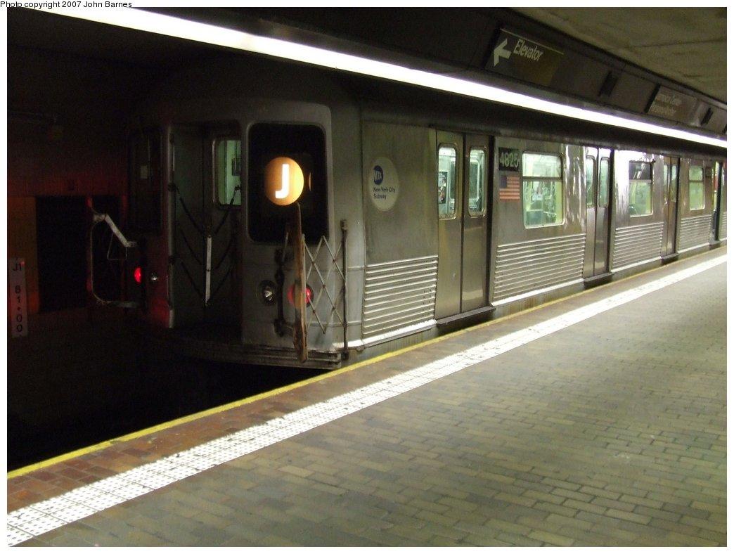 (139k, 1044x788)<br><b>Country:</b> United States<br><b>City:</b> New York<br><b>System:</b> New York City Transit<br><b>Line:</b> BMT Nassau Street/Jamaica Line<br><b>Location:</b> Jamaica Center/Parsons-Archer <br><b>Route:</b> J<br><b>Car:</b> R-42 (St. Louis, 1969-1970)  4825 <br><b>Photo by:</b> John Barnes<br><b>Date:</b> 1/19/2007<br><b>Viewed (this week/total):</b> 1 / 2515