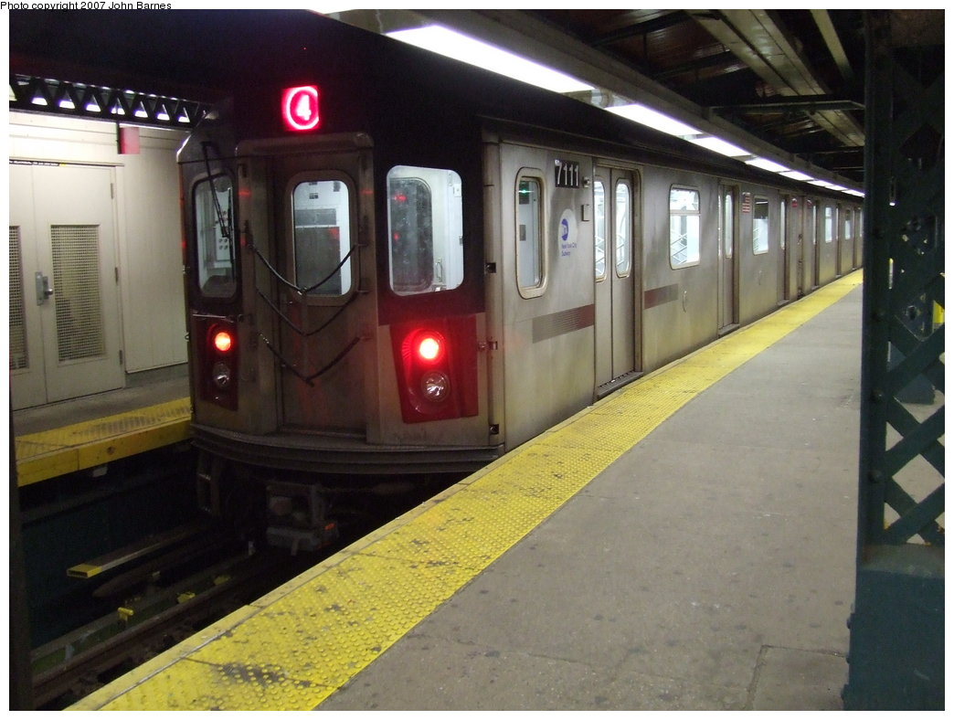 (158k, 1044x788)<br><b>Country:</b> United States<br><b>City:</b> New York<br><b>System:</b> New York City Transit<br><b>Line:</b> IRT Woodlawn Line<br><b>Location:</b> Woodlawn <br><b>Route:</b> 4<br><b>Car:</b> R-142 (Option Order, Bombardier, 2002-2003)  7111 <br><b>Photo by:</b> John Barnes<br><b>Date:</b> 1/24/2007<br><b>Viewed (this week/total):</b> 3 / 4368