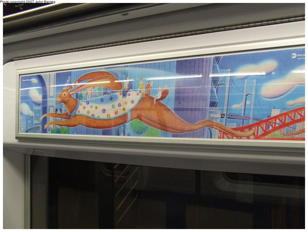 (152k, 1044x788)<br><b>Country:</b> United States<br><b>City:</b> New York<br><b>System:</b> New York City Transit<br><b>Car:</b>  Interior <br><b>Photo by:</b> John Barnes<br><b>Date:</b> 1/24/2007<br><b>Artwork:</b> <i>Rabbit Transit (unofficial name)</i>, Dave Calver (2006).<br><b>Viewed (this week/total):</b> 12 / 2128