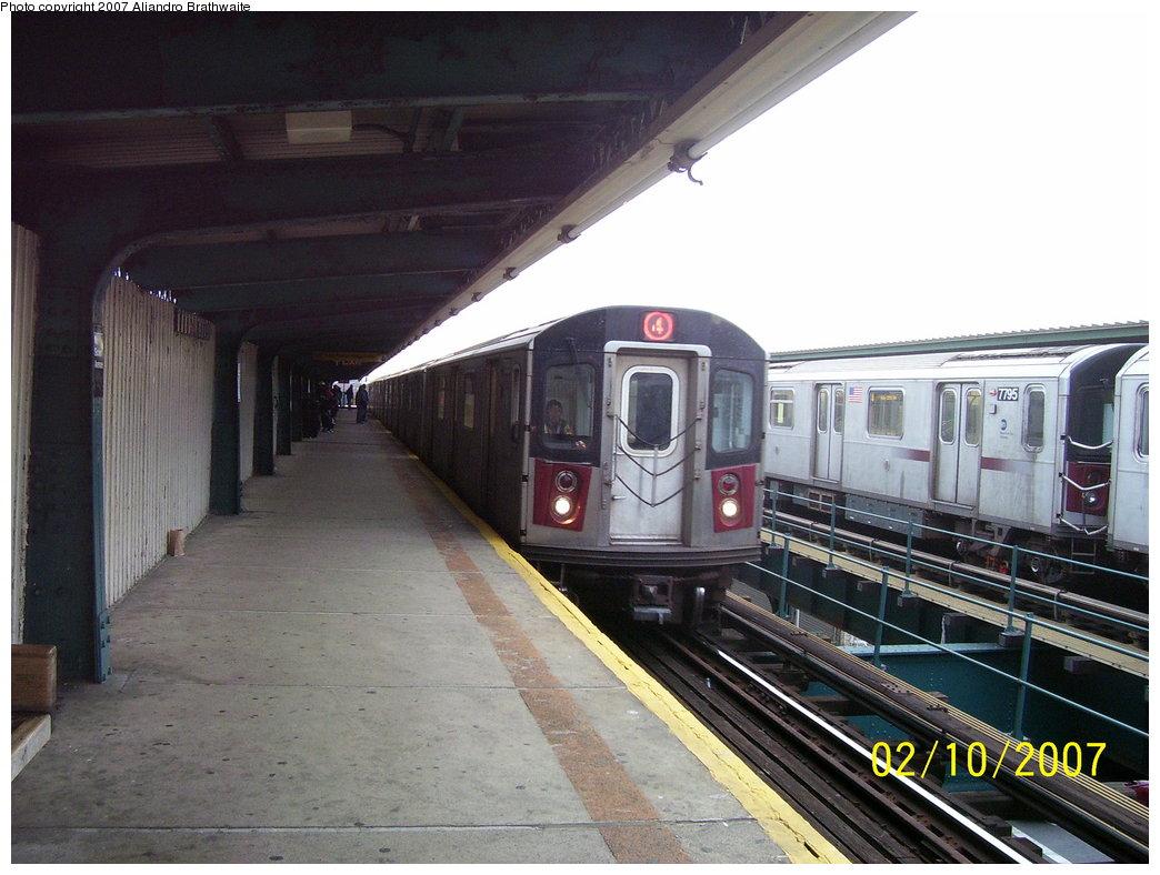 (175k, 1044x788)<br><b>Country:</b> United States<br><b>City:</b> New York<br><b>System:</b> New York City Transit<br><b>Line:</b> IRT Brooklyn Line<br><b>Location:</b> Van Siclen Avenue <br><b>Route:</b> 4<br><b>Car:</b> R-142 (Option Order, Bombardier, 2002-2003)  7101 <br><b>Photo by:</b> Aliandro Brathwaite<br><b>Date:</b> 2/10/2007<br><b>Viewed (this week/total):</b> 0 / 3467