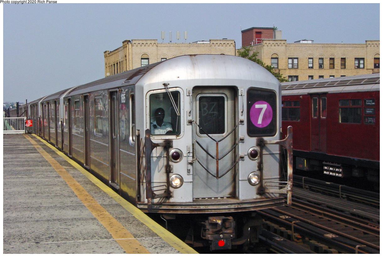 (64k, 820x620)<br><b>Country:</b> United States<br><b>City:</b> New York<br><b>System:</b> New York City Transit<br><b>Line:</b> IRT Flushing Line<br><b>Location:</b> 90th Street/Elmhurst Avenue <br><b>Route:</b> 7<br><b>Car:</b> R-62A (Bombardier, 1984-1987)  1685 <br><b>Photo by:</b> Richard Panse<br><b>Date:</b> 7/18/2002<br><b>Viewed (this week/total):</b> 5 / 4256