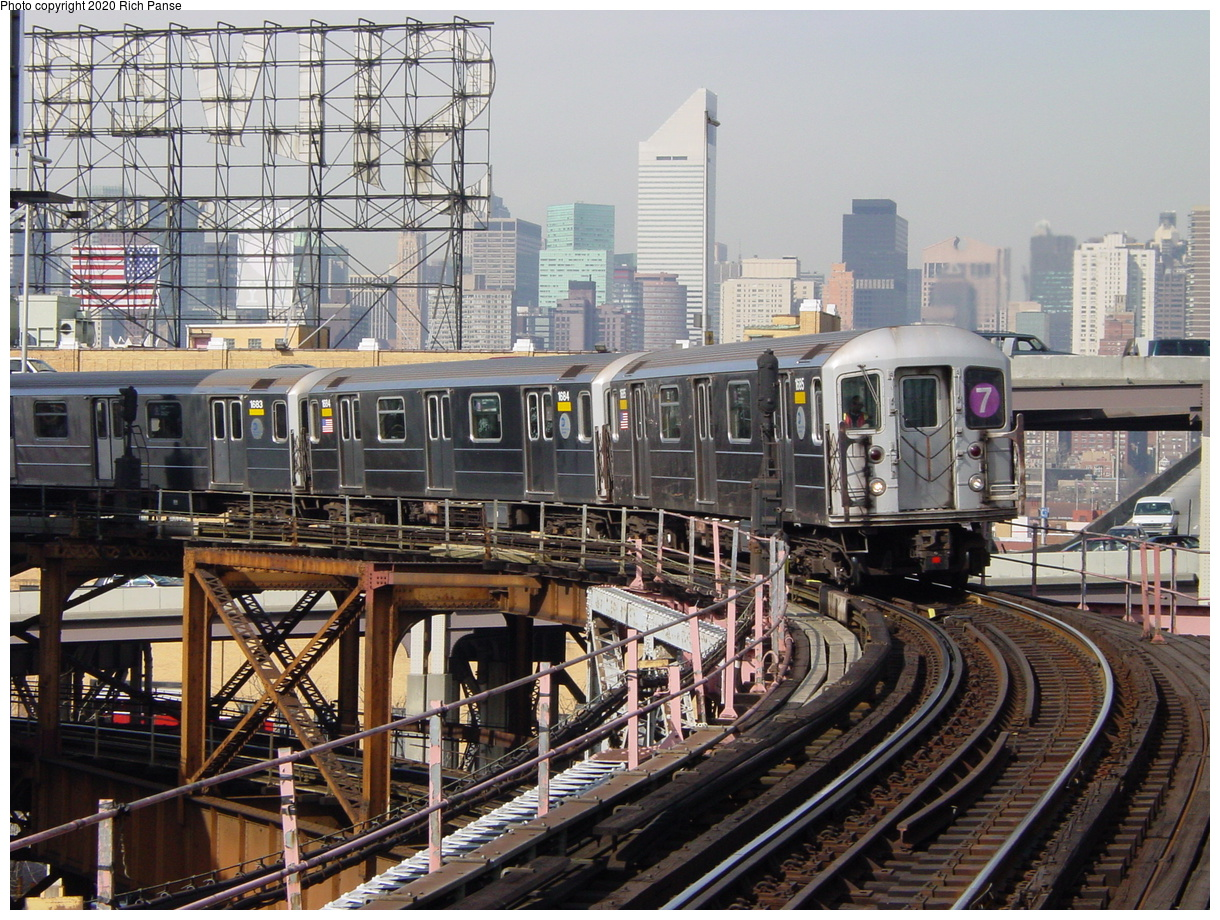 (114k, 820x620)<br><b>Country:</b> United States<br><b>City:</b> New York<br><b>System:</b> New York City Transit<br><b>Line:</b> IRT Flushing Line<br><b>Location:</b> Queensborough Plaza <br><b>Route:</b> 7<br><b>Car:</b> R-62A (Bombardier, 1984-1987)  1685 <br><b>Photo by:</b> Richard Panse<br><b>Date:</b> 3/7/2002<br><b>Viewed (this week/total):</b> 3 / 3853