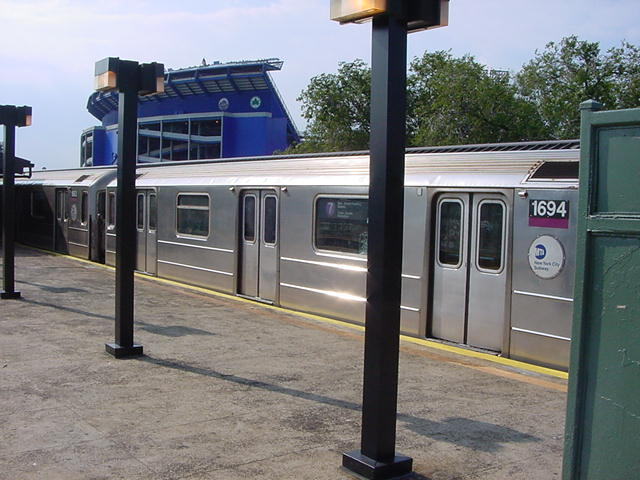 (62k, 640x480)<br><b>Country:</b> United States<br><b>City:</b> New York<br><b>System:</b> New York City Transit<br><b>Line:</b> IRT Flushing Line<br><b>Location:</b> Willets Point/Mets (fmr. Shea Stadium) <br><b>Route:</b> 7<br><b>Car:</b> R-62A (Bombardier, 1984-1987)  1694 <br><b>Photo by:</b> Salaam Allah<br><b>Date:</b> 9/21/2002<br><b>Viewed (this week/total):</b> 1 / 3423