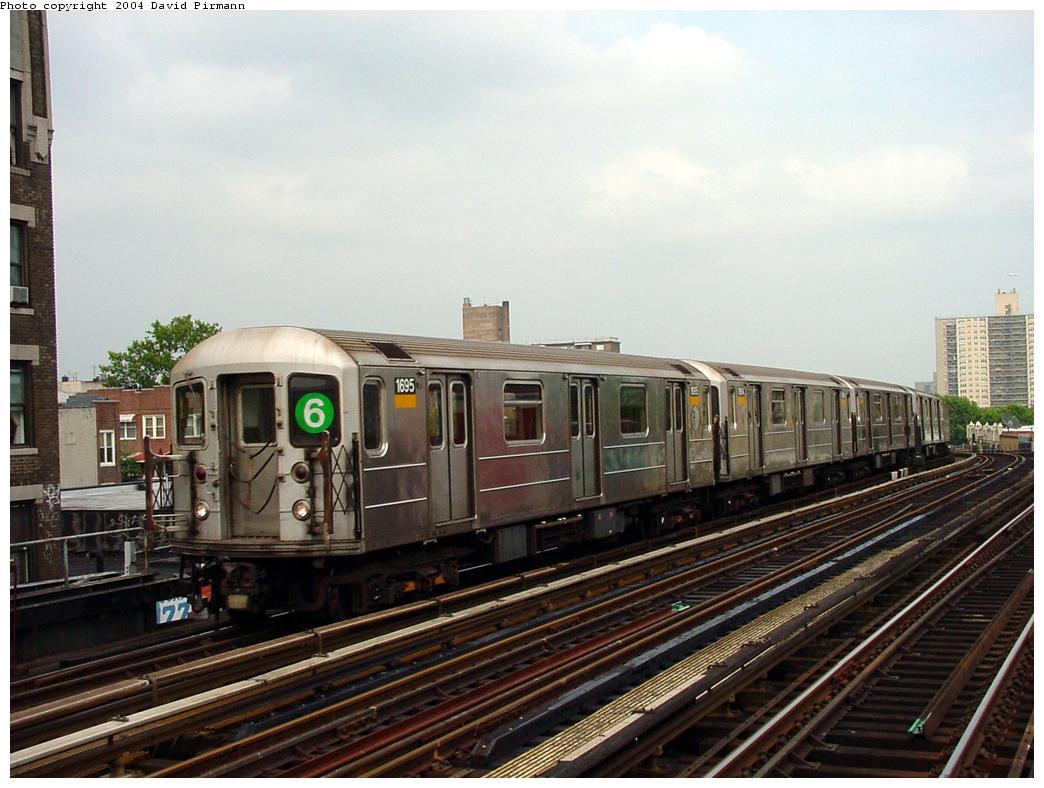 (124k, 1044x788)<br><b>Country:</b> United States<br><b>City:</b> New York<br><b>System:</b> New York City Transit<br><b>Line:</b> IRT Pelham Line<br><b>Location:</b> Elder Avenue <br><b>Route:</b> 6<br><b>Car:</b> R-62A (Bombardier, 1984-1987)  1695 <br><b>Photo by:</b> David Pirmann<br><b>Date:</b> 7/4/2001<br><b>Viewed (this week/total):</b> 2 / 6211