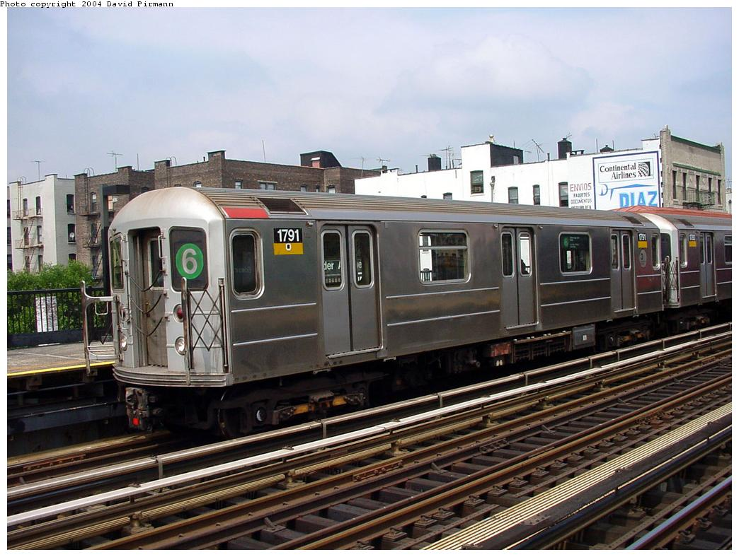 (145k, 1044x788)<br><b>Country:</b> United States<br><b>City:</b> New York<br><b>System:</b> New York City Transit<br><b>Line:</b> IRT Pelham Line<br><b>Location:</b> Elder Avenue <br><b>Route:</b> 6<br><b>Car:</b> R-62A (Bombardier, 1984-1987)  1791 <br><b>Photo by:</b> David Pirmann<br><b>Date:</b> 7/4/2001<br><b>Viewed (this week/total):</b> 1 / 10030