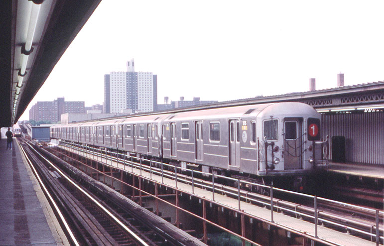 (101k, 771x494)<br><b>Country:</b> United States<br><b>City:</b> New York<br><b>System:</b> New York City Transit<br><b>Line:</b> IRT Brooklyn Line<br><b>Location:</b> Pennsylvania Avenue <br><b>Route:</b> 1<br><b>Car:</b> R-62A (Bombardier, 1984-1987)  1816 <br><b>Photo by:</b> George Chiasson Jr.<br><b>Date:</b> 9/23/2001<br><b>Notes:</b> With the long extension of 1 service from Manhattan to New Lots Ave., service is now provided by a mix of cars nominally assigned to both the 1 and 3 lines.  Several R-62As were also brought in from Pelham (as demonstrated here by 1816 at Pennsylvania Ave.) where they've been made surplus by the arrival of new R-142As.<br><b>Viewed (this week/total):</b> 0 / 8911