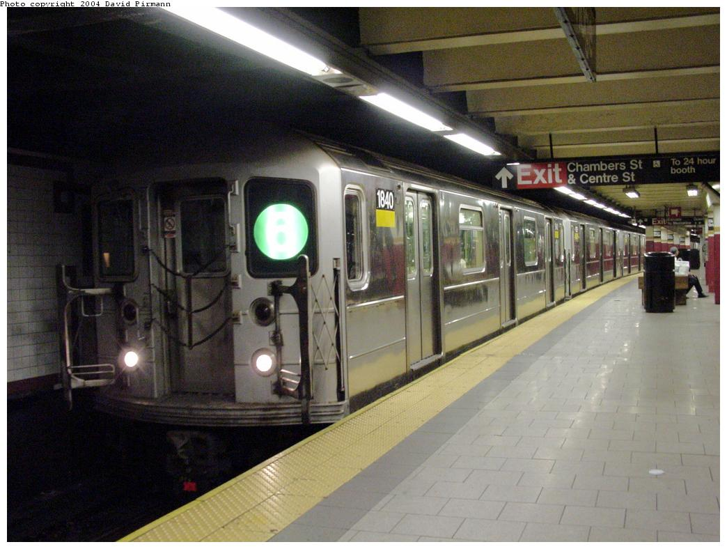 (118k, 1044x788)<br><b>Country:</b> United States<br><b>City:</b> New York<br><b>System:</b> New York City Transit<br><b>Line:</b> IRT East Side Line<br><b>Location:</b> Brooklyn Bridge/City Hall <br><b>Route:</b> 6<br><b>Car:</b> R-62A (Bombardier, 1984-1987)  1840 <br><b>Photo by:</b> David Pirmann<br><b>Date:</b> 7/4/2001<br><b>Viewed (this week/total):</b> 5 / 8664