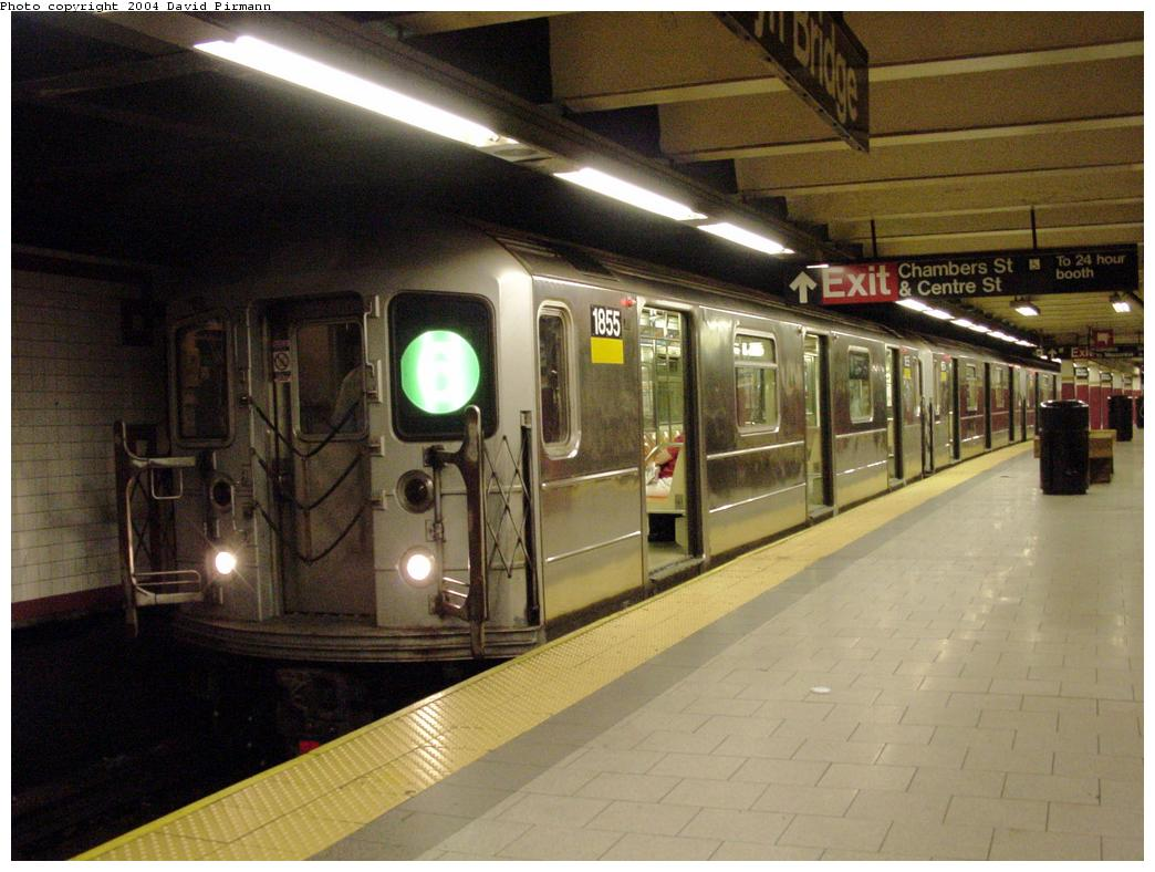 (119k, 1044x788)<br><b>Country:</b> United States<br><b>City:</b> New York<br><b>System:</b> New York City Transit<br><b>Line:</b> IRT East Side Line<br><b>Location:</b> Brooklyn Bridge/City Hall <br><b>Route:</b> 6<br><b>Car:</b> R-62A (Bombardier, 1984-1987)  1855 <br><b>Photo by:</b> David Pirmann<br><b>Date:</b> 7/4/2001<br><b>Viewed (this week/total):</b> 1 / 6166