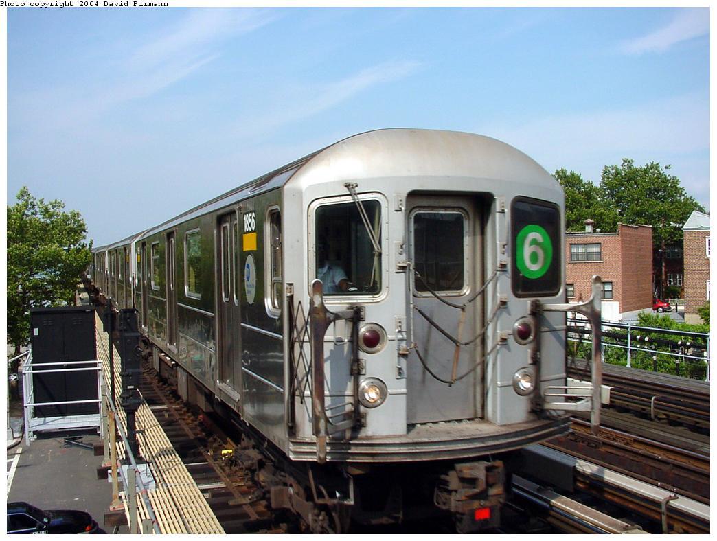 (135k, 1044x788)<br><b>Country:</b> United States<br><b>City:</b> New York<br><b>System:</b> New York City Transit<br><b>Line:</b> IRT Pelham Line<br><b>Location:</b> Middletown Road <br><b>Route:</b> 6<br><b>Car:</b> R-62A (Bombardier, 1984-1987)  1856 <br><b>Photo by:</b> David Pirmann<br><b>Date:</b> 7/4/2001<br><b>Viewed (this week/total):</b> 1 / 5642