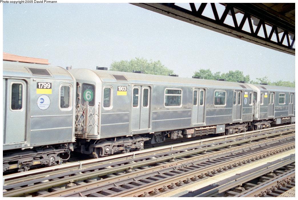 (222k, 1044x699)<br><b>Country:</b> United States<br><b>City:</b> New York<br><b>System:</b> New York City Transit<br><b>Line:</b> IRT Pelham Line<br><b>Location:</b> Westchester Square <br><b>Route:</b> 6<br><b>Car:</b> R-62A (Bombardier, 1984-1987)  1903 <br><b>Photo by:</b> David Pirmann<br><b>Date:</b> 9/13/1998<br><b>Viewed (this week/total):</b> 5 / 4642