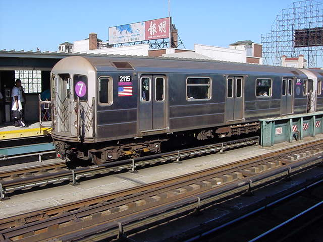 (60k, 640x480)<br><b>Country:</b> United States<br><b>City:</b> New York<br><b>System:</b> New York City Transit<br><b>Line:</b> IRT Flushing Line<br><b>Location:</b> 33rd Street/Rawson Street <br><b>Route:</b> 7<br><b>Car:</b> R-62A (Bombardier, 1984-1987)  2115 <br><b>Photo by:</b> Salaam Allah<br><b>Date:</b> 9/17/2002<br><b>Viewed (this week/total):</b> 0 / 3635