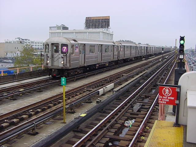 (60k, 640x480)<br><b>Country:</b> United States<br><b>City:</b> New York<br><b>System:</b> New York City Transit<br><b>Line:</b> IRT Flushing Line<br><b>Location:</b> 33rd Street/Rawson Street <br><b>Route:</b> 7<br><b>Car:</b> R-62A (Bombardier, 1984-1987)  2142 <br><b>Photo by:</b> Salaam Allah<br><b>Date:</b> 9/27/2002<br><b>Viewed (this week/total):</b> 0 / 3209